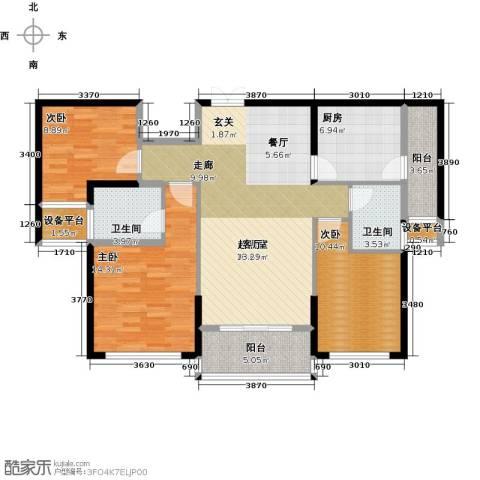 金色港湾3室0厅2卫1厨116.00㎡户型图