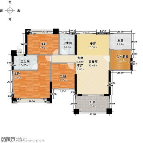 敏捷绿湖国际城3室1厅2卫1厨115.00㎡户型图