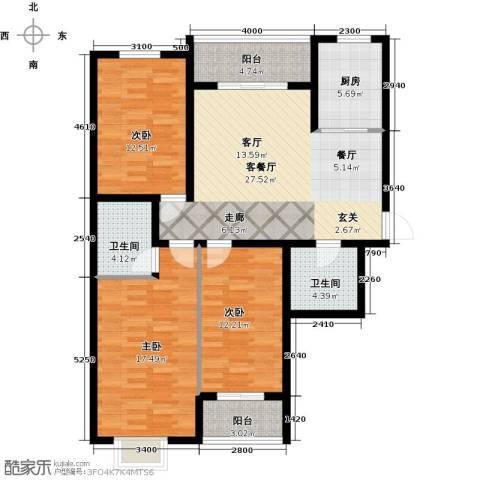 天赐康缘新区3室1厅2卫1厨138.00㎡户型图