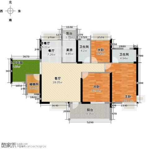 丽景湾上3室1厅2卫1厨143.00㎡户型图