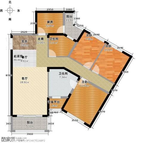 金色港湾3室0厅2卫1厨138.00㎡户型图