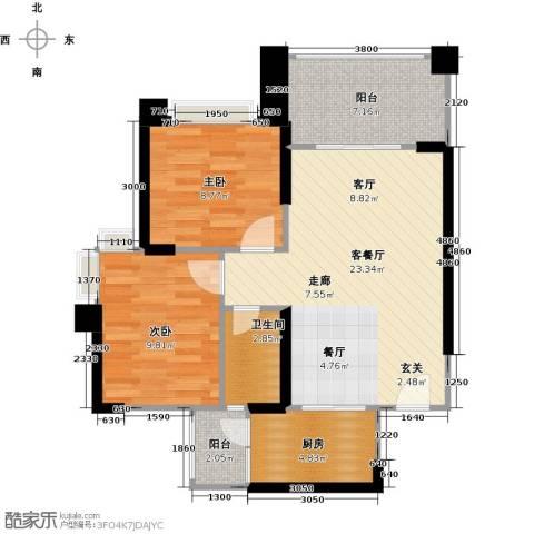 敏捷绿湖国际城2室1厅1卫1厨82.00㎡户型图