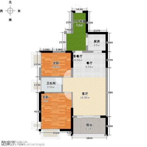 丽景湾上2室1厅1卫1厨93.00㎡户型图