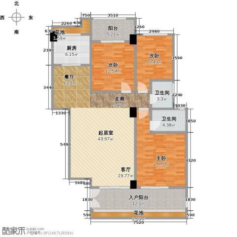 华港财富港湾3室0厅2卫1厨139.00㎡户型图