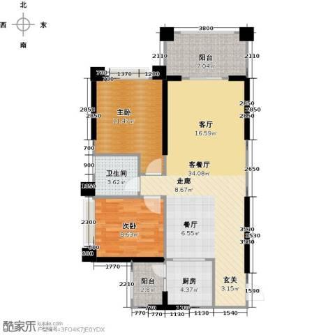 敏捷绿湖国际城2室1厅1卫1厨84.00㎡户型图