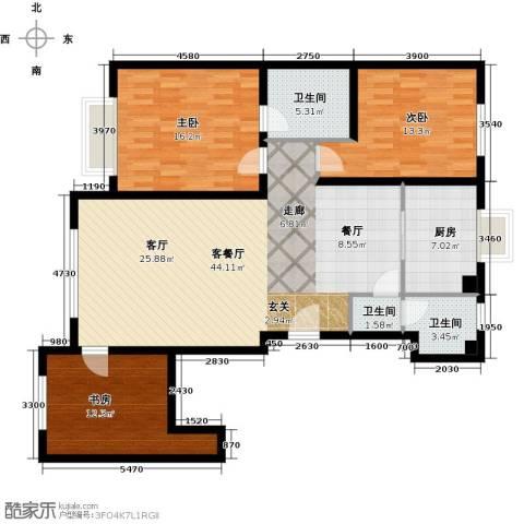 中国城建伦敦公元3室1厅3卫1厨145.00㎡户型图
