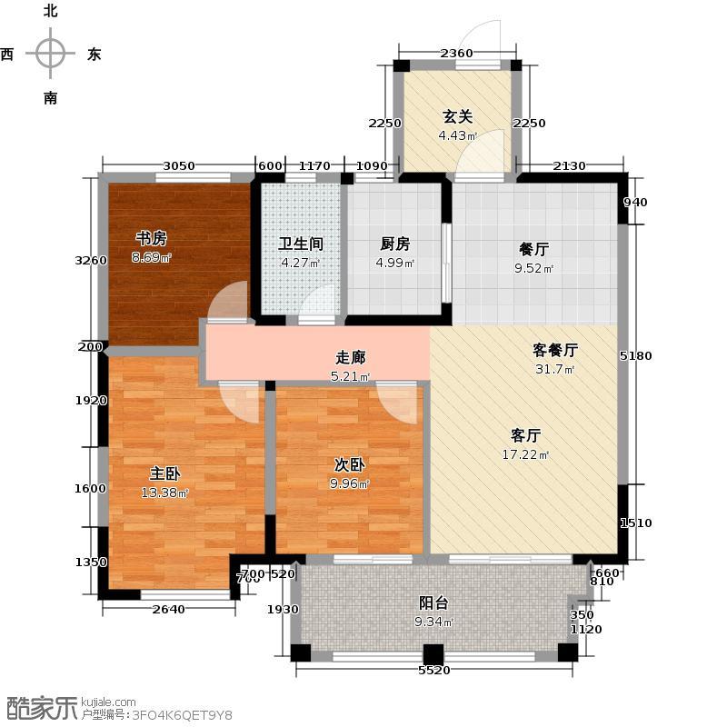 淮河新城98.00㎡B户型98平米户型3室2厅1卫