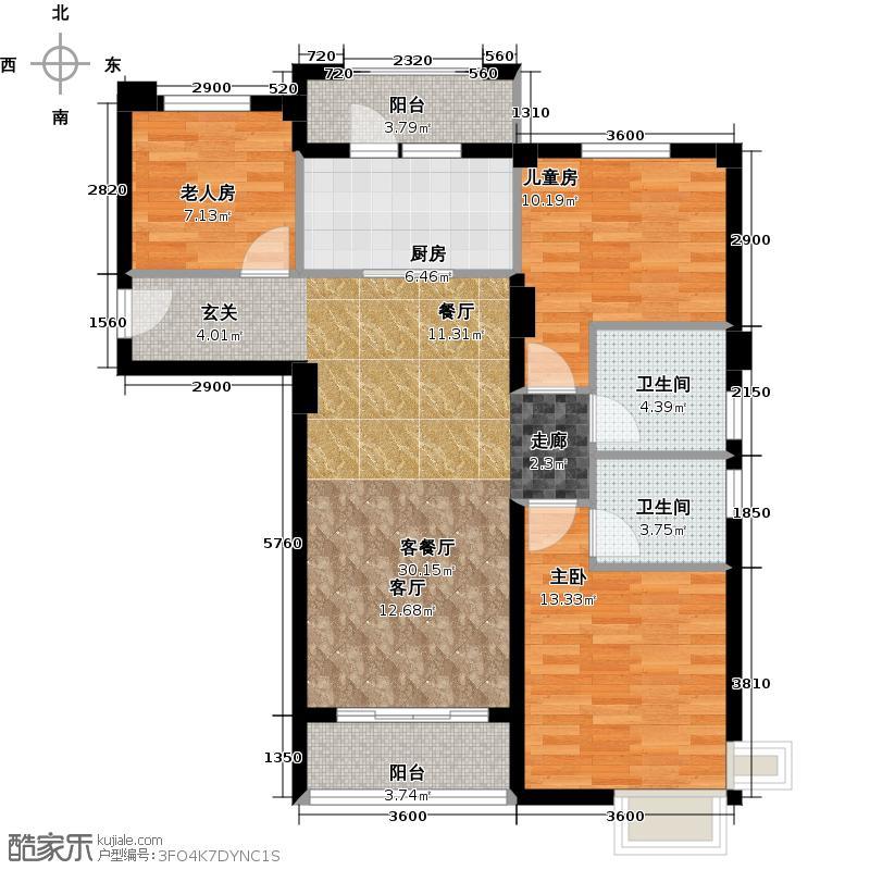淄博碧桂园户型3室1厅2卫1厨
