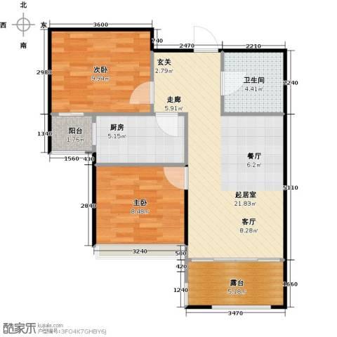 郡原居里2室0厅1卫1厨80.00㎡户型图