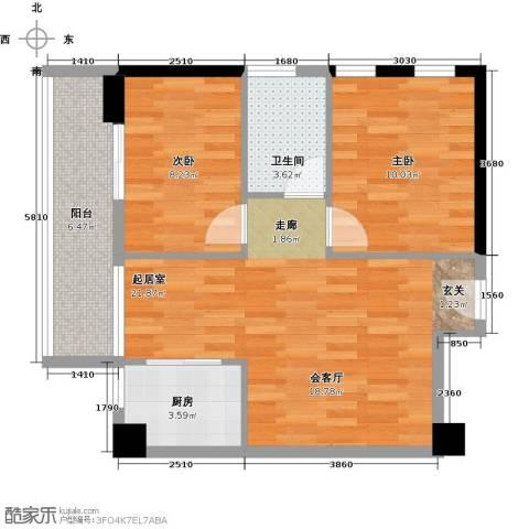 金色港湾2室0厅1卫1厨76.00㎡户型图