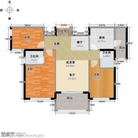 金色港湾3室0厅2卫1厨124.00㎡户型图
