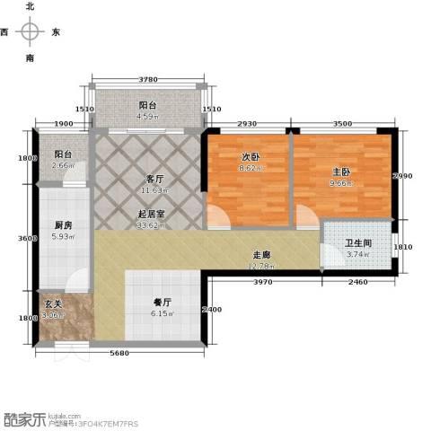 金色港湾2室0厅1卫1厨91.00㎡户型图