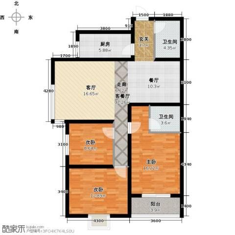 天赐康缘新区3室1厅2卫1厨148.00㎡户型图