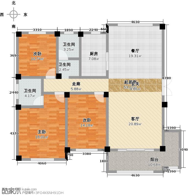 铜峰・塞纳庄园户型3室2卫1厨