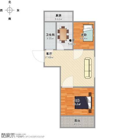 友谊苑2室2厅1卫1厨70.00㎡户型图
