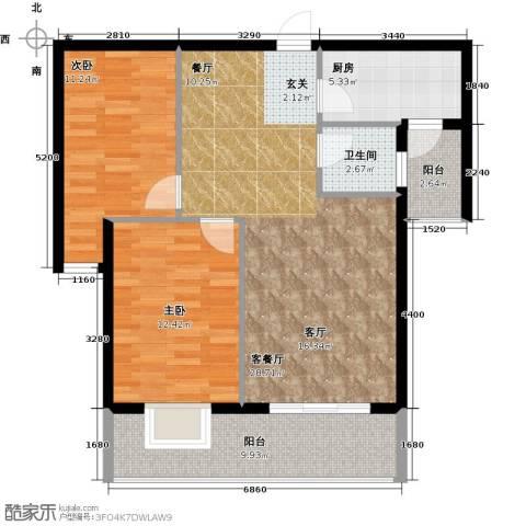 南阳金域蓝郡2室1厅1卫1厨102.00㎡户型图
