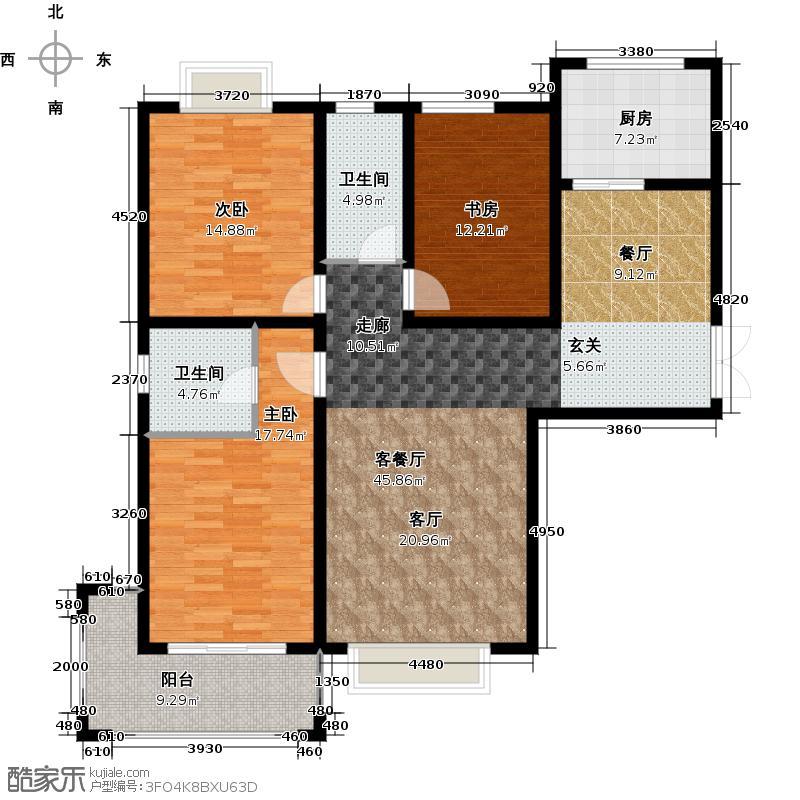同晟国际132.00㎡三室两厅两卫户型3室2厅2卫
