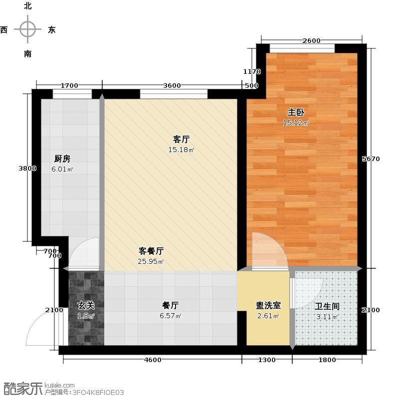 柏林爱乐三期13号楼5.1.A1一室二厅一卫户型