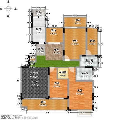 绿地海棠湾3室1厅2卫1厨130.00㎡户型图