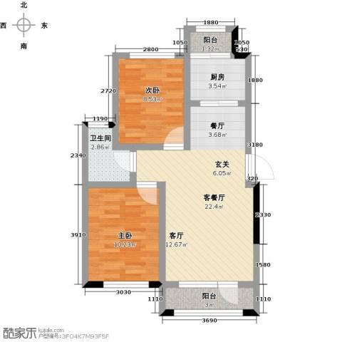 新星宇・之悦2室1厅1卫1厨79.00㎡户型图