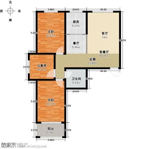 贵都花园综合体3室1厅1卫1厨135.00㎡户型图