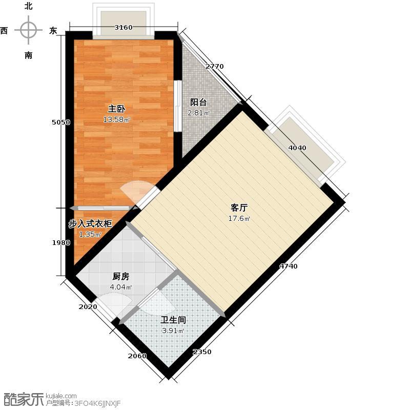 新贵华城三期62.20㎡一室一厅一卫户型