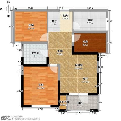 奥林清华御园3室0厅1卫1厨86.00㎡户型图