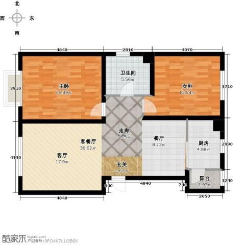 中国城建伦敦公元2室1厅1卫1厨112.00㎡户型图