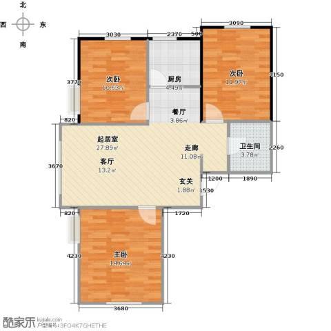郡原居里3室0厅1卫1厨90.00㎡户型图