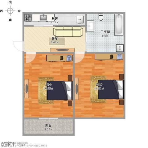古华新村2室1厅1卫1厨86.00㎡户型图