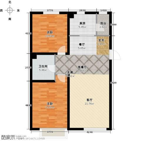 中国城建伦敦公元2室1厅1卫1厨117.00㎡户型图