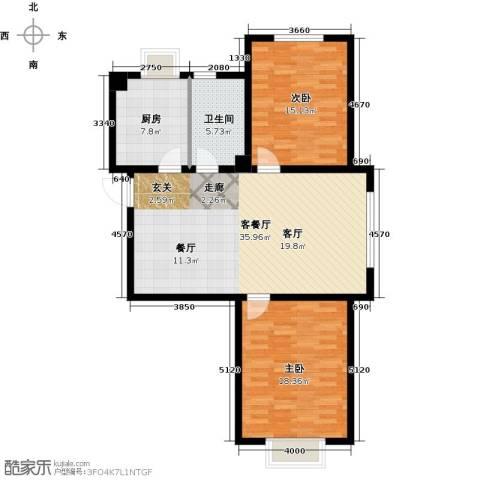 中国城建伦敦公元2室1厅1卫1厨116.00㎡户型图