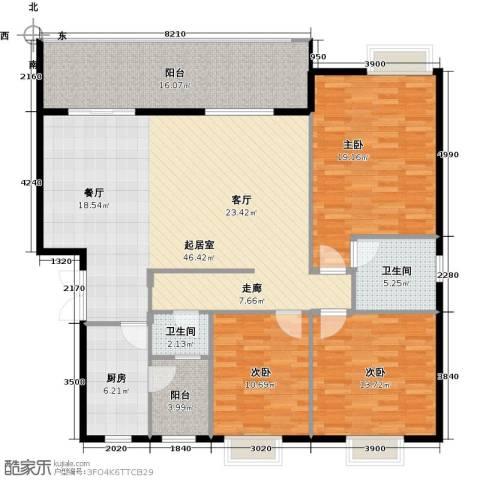 万山国际3室0厅2卫1厨124.00㎡户型图