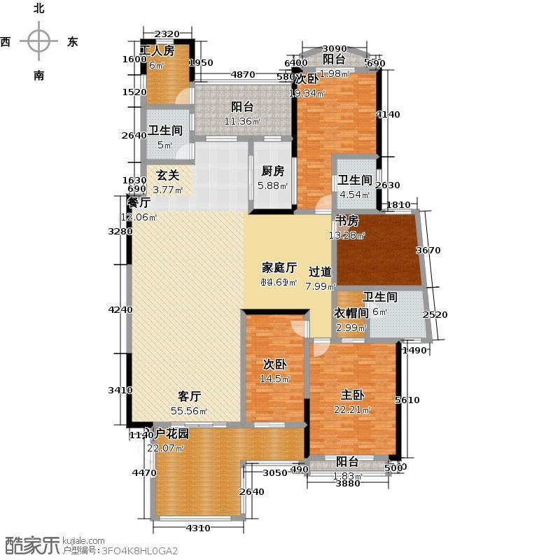 天湖郦都13座/14座/15座01单元户型4室1厅3卫1厨