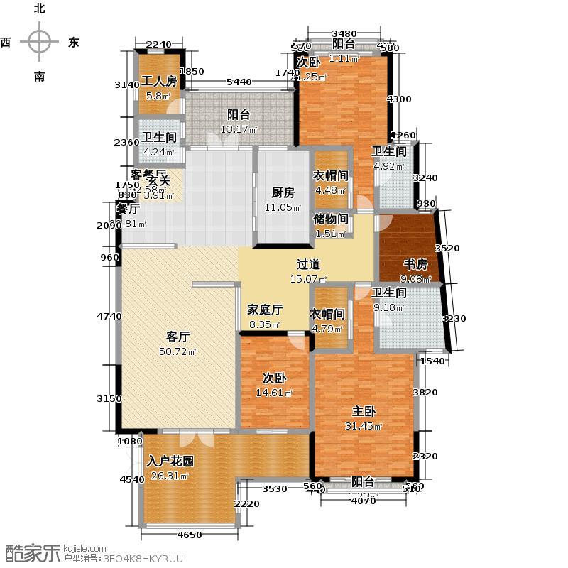 天湖郦都17座/18座01单元户型4室1厅3卫1厨