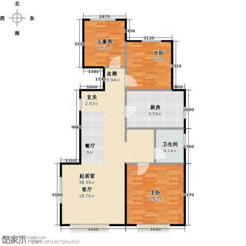 万科金域华府馨苑3室0厅1卫1厨92.00㎡户型图