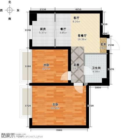 中国城建伦敦公元2室1厅1卫1厨75.00㎡户型图