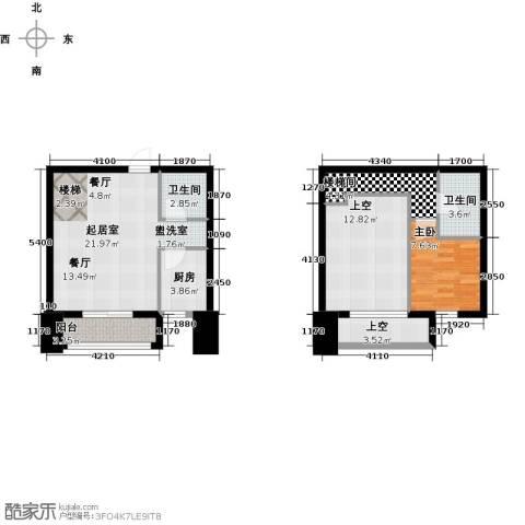 华润中心【时与间】1室0厅2卫1厨68.00㎡户型图