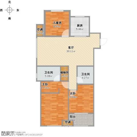 万科金色里程3室1厅2卫1厨122.00㎡户型图