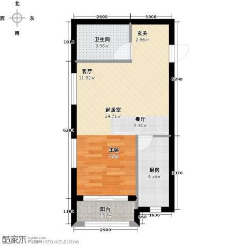华润中心【时与间】1卫1厨52.00㎡户型图