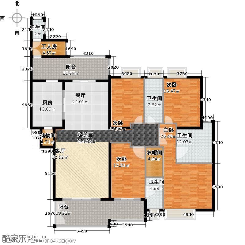 汇景新城E2-C2栋01单元户型4室4卫1厨