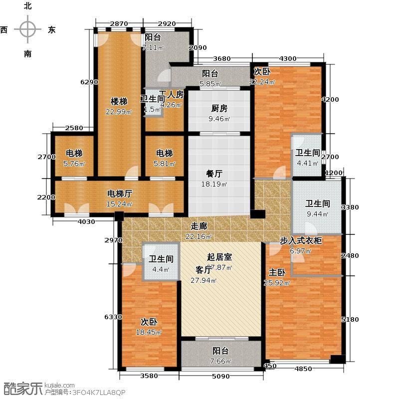 华润凯旋门245.00㎡三室四厅三卫+更衣室户型3室4厅3卫