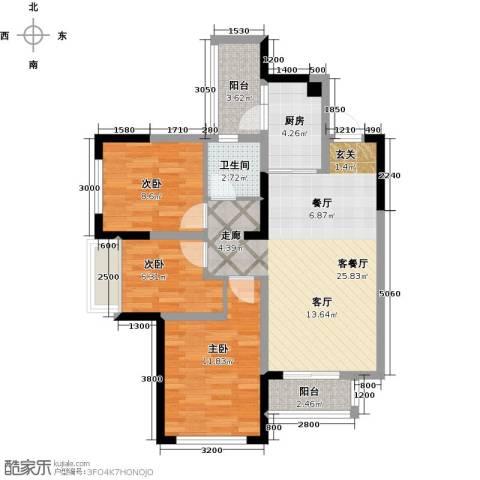 合能璞丽3室1厅1卫1厨79.00㎡户型图