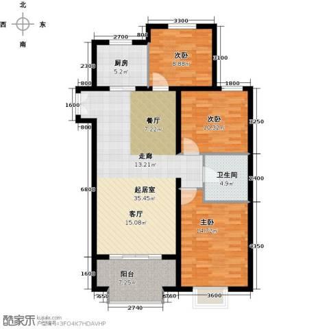 万达广场3室0厅1卫1厨122.00㎡户型图