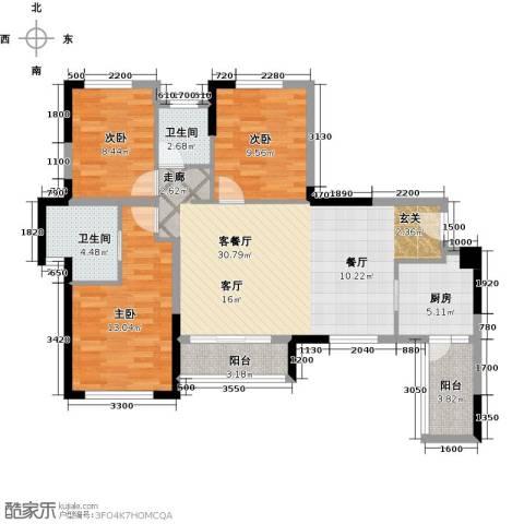 合能璞丽3室1厅2卫1厨89.00㎡户型图