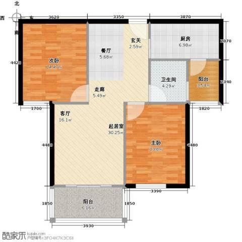 万泰香河佳园2室0厅1卫1厨88.00㎡户型图