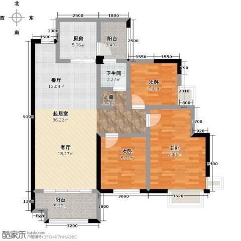 华盛・世纪新城3室0厅1卫1厨121.00㎡户型图