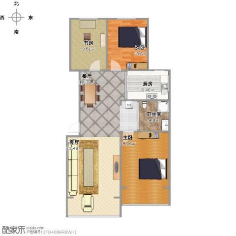 人杰水岸3室1厅1卫1厨119.00㎡户型图