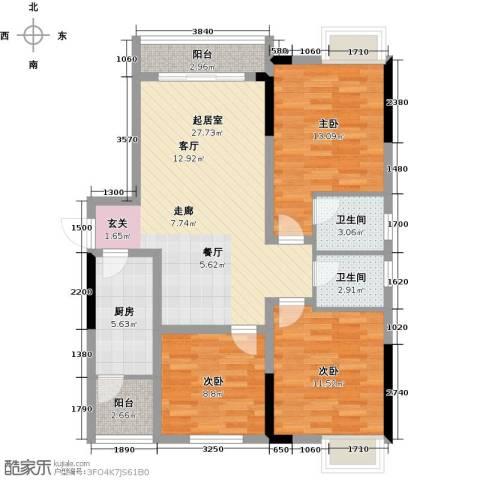 上海花园3室0厅2卫1厨90.45㎡户型图