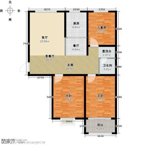 贵都花园综合体3室1厅1卫1厨150.00㎡户型图